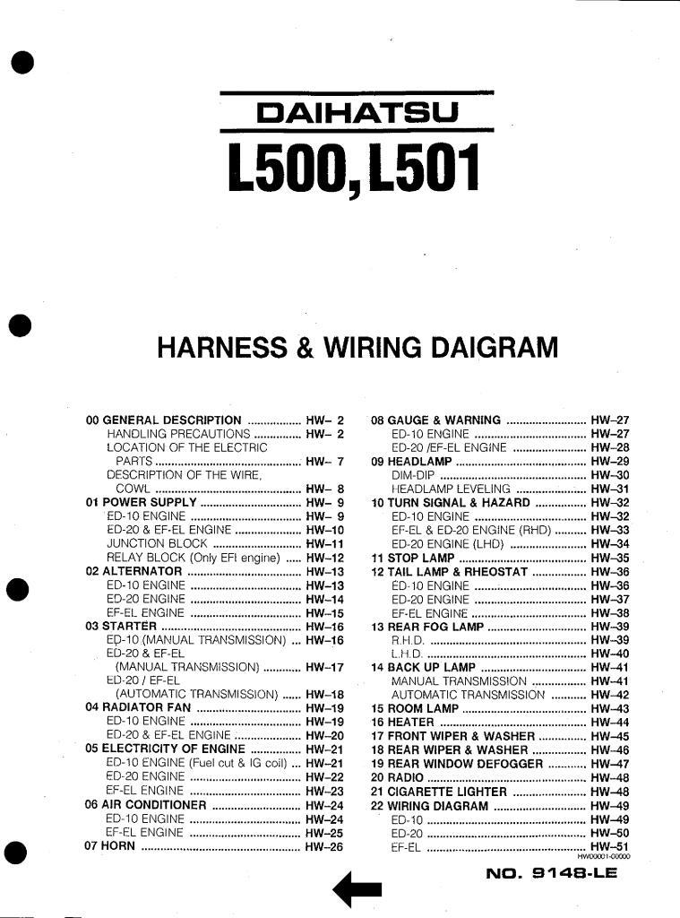 Daihatsu L500 L501 Harness Wiring Diagram Pdf  3 28 Mb